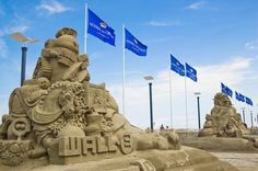 Photo by Hans Veneman/Flickr. Holland's European Sand Sculptures Festival takes place in Noordwijk every year. In 2008, the theme was Disney, and this delightful WALL-E sculpture took first place in the competition.