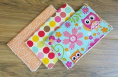 Baby girl burp cloths- set of 3, baby shower gift, owl, chenille, floral