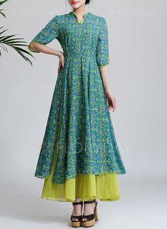 Bröllopsklänningar - $54.69 - Chiffong Blommor Halvlång ärm Maxi Vintage Bröllopsklänningar (1955104078)
