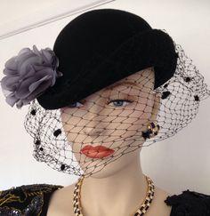 VINTAGE BLACK FELT FLORAL BOWLER TILT BIRDCAGE VEIL LADIES HAT GOODWOOD 40s 50s   eBay