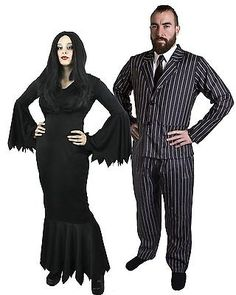 #Couples gothic character  costume womens black #dress mens #striped suit hallowe,  View more on the LINK: http://www.zeppy.io/product/gb/2/381430798875/