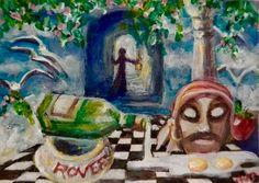 NFAC ACEO Original Painting Lantern Lady Sky Tunnel Birds Eggs Mask Surrealism #Surrealism