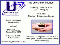 Join us for coffee, cookies and conversation - Thursday at 5:30 p.m. at The University Church.