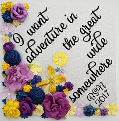 I Want Adventure Custom Graduation Cap Topper Graduation Decoration Flowers! Customize colors and saying by GlitterMomz on Etsy Custom Graduation Caps, Disney Graduation Cap, Graduation Cap Toppers, Graduation Cap Designs, Graduation Cap Decoration, College Graduation, Graduation Ideas, Grad Hat, Cap Decorations