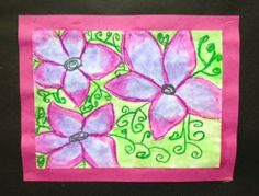chalk, pastel and watercolor flower painting