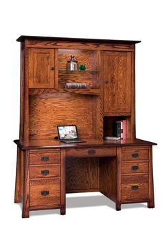 Amish Grant Desk with Hutch Top Solid wood desk and storage center! The Grant wears mission style built in your choice of wood and stain. Amish made in America. Includes writing pullouts, touch lighting and option to add leather writing pad and pop up power station.