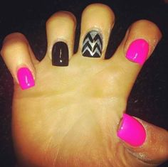 Neon Pink and Chevron nails