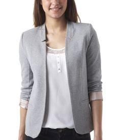 veste blazer femme grise mode2. Black Bedroom Furniture Sets. Home Design Ideas
