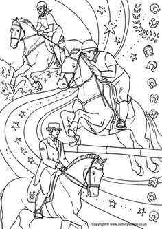 Equestrian collage colouring page