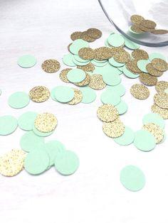 1000 Mint Green & Gold Glitter Confetti  Circle por ConfettiGirls