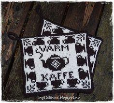 Ravelry: Varm kaffe, gryteklut pattern by Jorunn Jakobsen Pedersen Crochet Potholders, Knit Crochet, Homer Decor, Fair Isle Chart, Double Knitting, Pot Holders, Ravelry, Needlework, Mittens