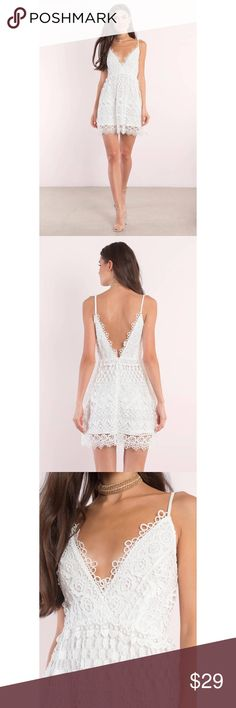 NWT Tobi Lace All Around Ivory Skater Dress The Lace All Around Skater Dress is the perfect day out dress. Featuring lace and a plunging neckline - new with Tobi tag - size small - no flaws - measures: 31 inches in length x 16 inches armpit to armpit -  📎Measurements are approximate & are always taken laying flat 📷 Colors may vary slightly from photos  💰Bundle for the best deal  ❌No trades, sorry Tobi Dresses