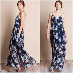 Floral Chiffon Maxi Dress Navy blue floral chiffon maxi dress with lace inserts. Partially lined. Brand new. NO TRADES DON'T ASK. This is an actual pic - all photography done by me. Please do not use picture without permission. Bare Anthology Dresses Maxi
