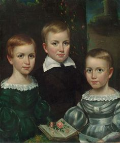 Retrato de Emily, Austin y Lavinia Dickinson.