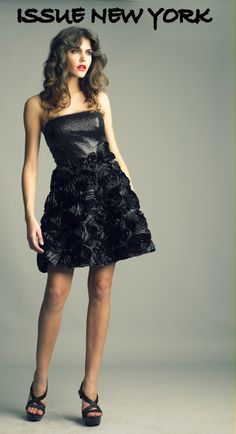 From the vaults of Issue New York style #SA2271 in black floret dress.  www.issuenewyork.com