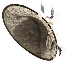 Wedding Fascinator Hat - Navy Two Tone Disc Sinamay