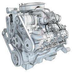 Wire-frame Engine 3D Model #wireframe #3dwireframe