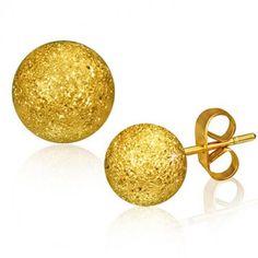 Cute 8mm Gold Color Ball Stud Earrings. #cute #stud #earrings #fashion