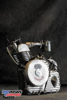 Ducati Cucciolo (Little Pup) was designed by the Turin based lawyer and writer Aldo Farinelli in 1943 after the Italian Armistice. Cucciolo in June 1946 Antique Motorcycles, Motorcycle News, Bicycle Race, 50cc, Car Engine, Spark Plug, Fuel Economy, Motorbikes, History