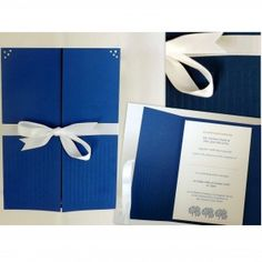 Design: Simplicity. Handmade, Luxury, Gatefold Invitation. Individually embossed royal blue card featuring pearl corner details. Luxuriously embellished white linen textured insert card. White Satin Ribbon. available from www.artisaninvitations.ie Stationery Shop, Invitation Set, White Satin, Royal Blue, Ribbon, Corner, Texture, Pearls, Luxury