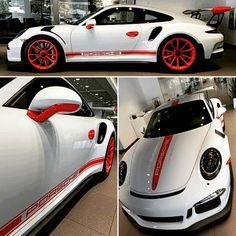 GT3RS in White with Lava Orange Motorsports Decals, Door Handles, Wheels, Wing Tips, & Side Mirror Lower Trim...it's Unique, it's Exclusive, it's a Hennessy Porsche original!!! #hennessyporsche #porscheexclusive #porscheexclusiveflagshipdealer #porschecla