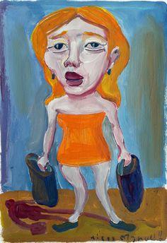 """""""Chica de ojos soñadores 3"""", gouache on paper , 24x 18 cm., year 1998"""