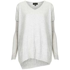 Women's Topshop Asymmetrical V-Neck Sweater ($72) ❤ liked on Polyvore featuring tops, sweaters, knit tops, vneck tops, low tops, topshop sweaters and v neck knit sweater