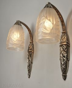 Schneider : pair of 1930 French art deco wall sconces (paravas - ebay)