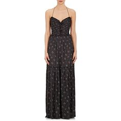 Ulla Johnson Women's Emelyn Floral Satin Halter Maxi Dress ($575) ❤ liked on Polyvore featuring dresses, black, floral print dress, halter-neck maxi dresses, floral maxi dress, smock dress and smocked maxi dress