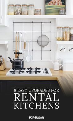 There are simple adjustments to upgrade that rental kitchen. When it comes to simple, easy fixes we've got you covered. From a stick-on backsplash to the addition of a dark rug, we'll have you luxuriating in that cucina in no time.