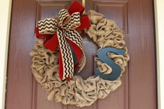 Burlap wreath monogram wreath chevron burlap by ReTellTherapy, $60.00