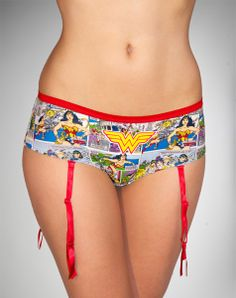 Wonder Woman Comic Boyshorts with Garters