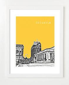 Columbia Skyline Art Print  - 8x10 City Skyline Poster - Columbia Missouri Gift - VERSION 2 on Etsy, $20.00