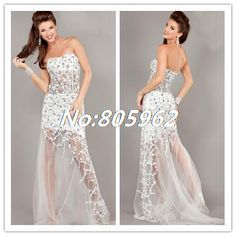 2014 Fashion Scoop With Beaded  Strapless White Mermaid Evening Dresses Tulle See Through Bottom Prom Gowns vestido de festa A52 $164.99