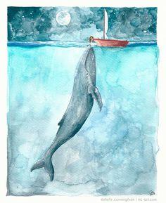 Heart of the Sea - watercolor illustration print - Whale ocean nightsky boat girl moon nautical ocean themed watercolor print via Etsy: