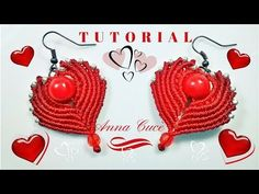 """Tutorial earrings """"Cuore- Heart"""" How to make easy macrame hearts for earrings for St Valentine's day - YouTube"""