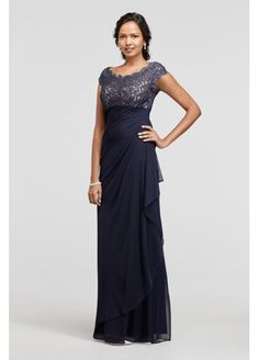 Mother of the Bride Dress - Long Mesh Dress with Cap Sleeves and Lace Bodice XS8201