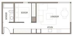 Apartment Ideas One Bedroom Studio Apt 68 Ideas Small Apartment Plans, Small Apartment Layout, Studio Apartment Floor Plans, Single Apartment, Studio Floor Plans, Studio Apartment Design, One Room Apartment, Studio Apartments, Micro Apartment