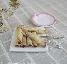 1/12th scale - raspberry jam filled crepes