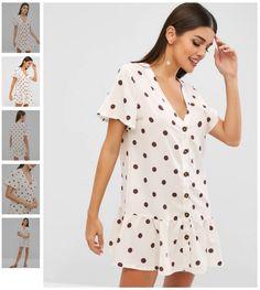 d6a34ed0f6828 Polka Dot Print Button Up Dress
