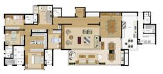 Apartamento tipo de 304 metros com 4 suítes e 4 vagas