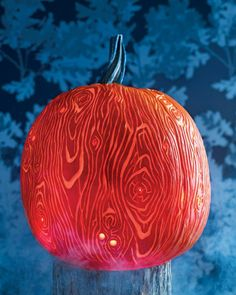 A wood-grain pumpkin is both unexpected and impressive.