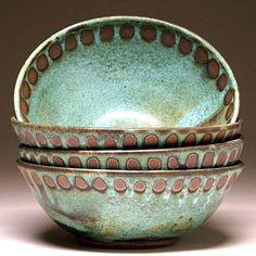 Soup Bowl in Green Dot Glaze