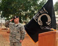 USAF Tech. Sgt. Brian Cikity, 27th Special Operations Security Forces Squadron response force leader, renders a salute during a Prisoner of War/Missing in Action retreat ceremony Sept. 20, 2013 at Cannon Air Force Base, N.M. Since 1979, POW/MIA Day has been observed across the nation on the third Friday of September each year, allowing Americans to remember those service members who made selfless sacrifices for their nation and those who never came home.(USAF Senior Airman Whitney Tucker)