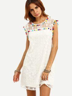 Shop White Cap Sleeve Pom-pom Trim Shift Dress online. SheIn offers White Cap Sleeve Pom-pom Trim Shift Dress & more to fit your fashionable…