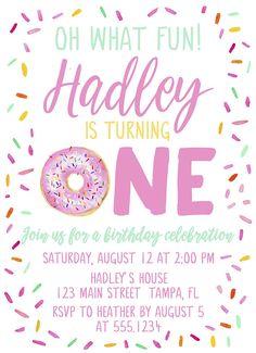 Donut Birthday Parties, Donut Party, Birthday Party Invitations, Birthday Party Themes, Birthday Banners, Girls First Birthday Theme Ideas, Girl First Birthday, Farm Birthday, Sprinkle Party