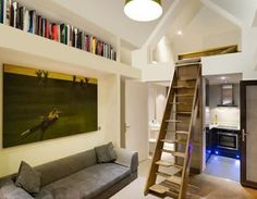 Love this ladder design with flat foot rungs for accessing the sleeping loft... safer and easier to traverse for those of us who are.. em... more mature in age...
