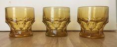 3 VINTAGE ANCHOR HOCKING - GEORGIAN AMBER 5 OZ. FLAT TUMBLERS/ JUICE GLASSES