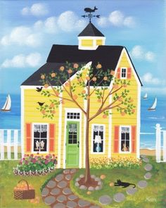 Etsy の Peach Tree Lane Cottage Folk Art Print by KimsCottageArt