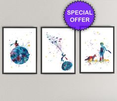 THE LITTLE PRINCE Watercolor Art Print Pack Nº2- Le Petit Prince Nursery Ink Colorful Vintage Painting illustrations Print Wall Art by oinkartprints on Etsy https://www.etsy.com/listing/264373310/the-little-prince-watercolor-art-print